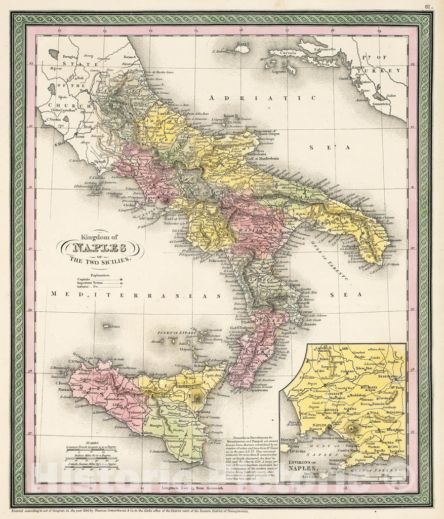 Historic Map : Mitchell Map of Southern Italy (Naples, Sicily) , 1853, Vintage Wall Art