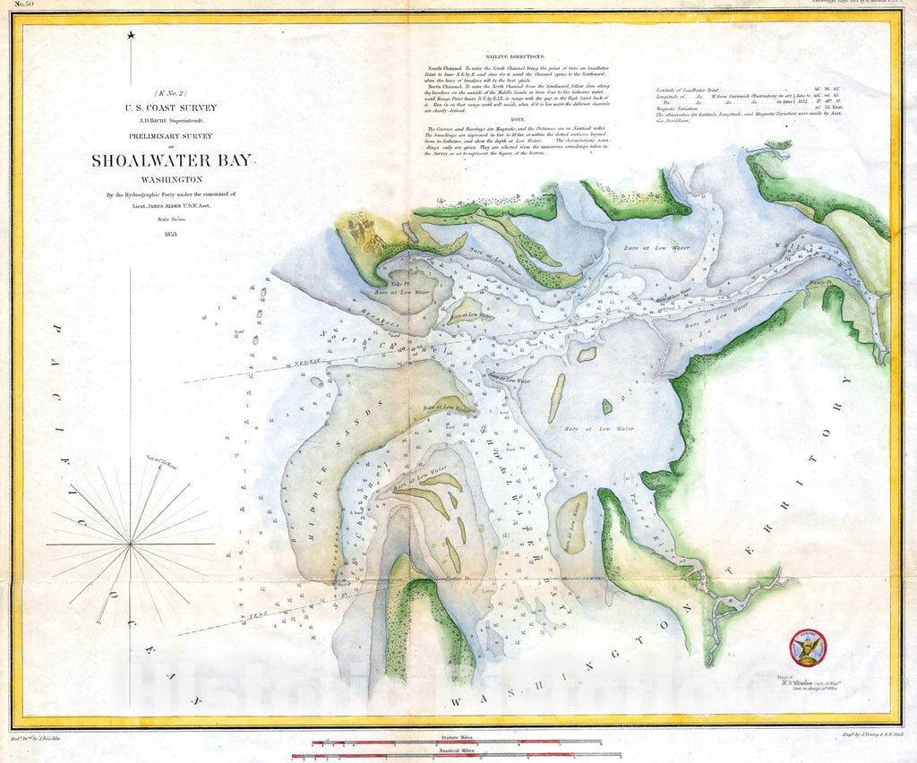 Historic Map : U.S.C.S. Map of Shoalwater Bay, Washington , 1853, Vintage Wall Art