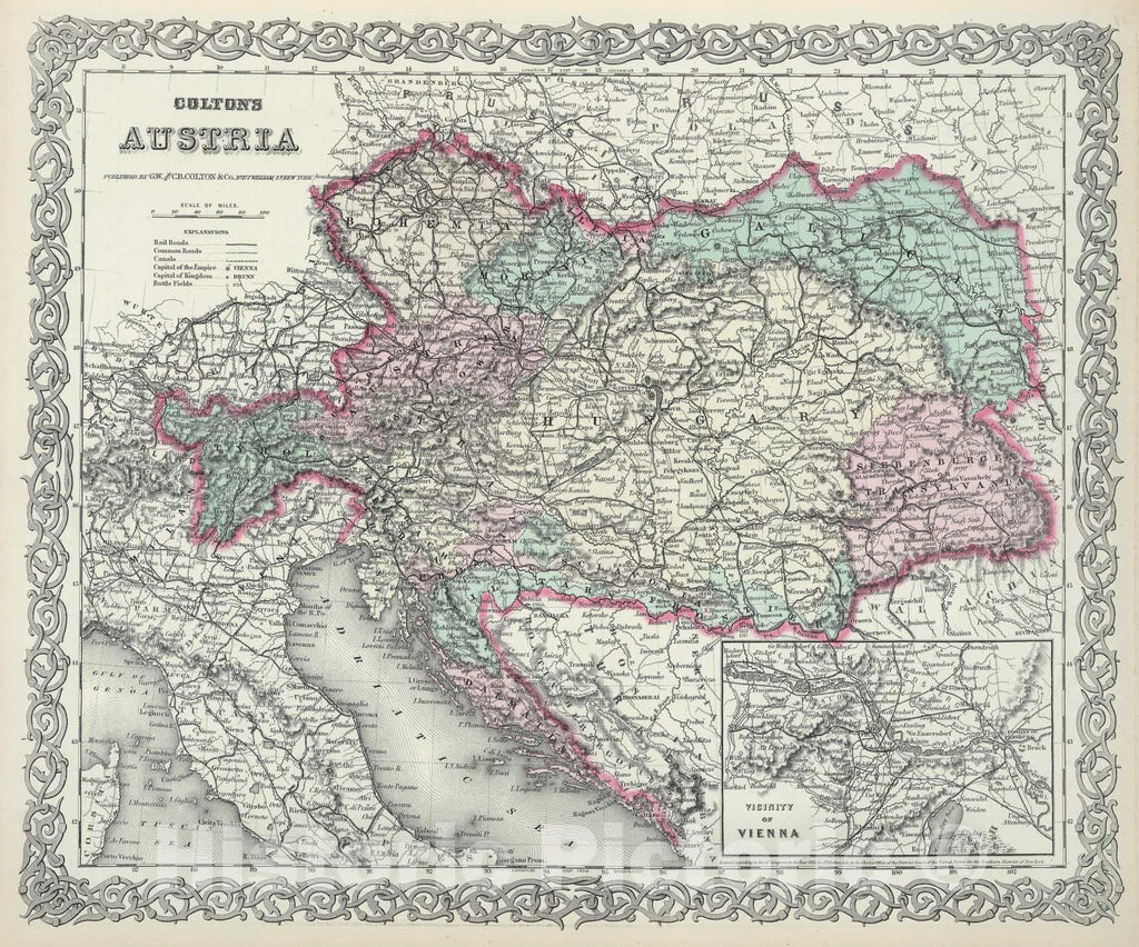 Historic Map : Colton Map of Austria, Hungary and The Czech Republic , 1855, Vintage Wall Art