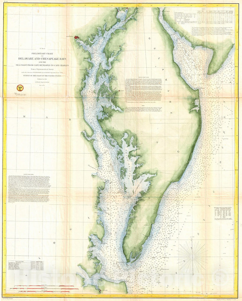 Historic Map : U.S. Coast Survey Chart or Map of Chesapeake Bay and Delaware Bay, 1855, Vintage Wall Art