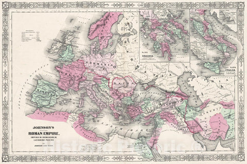 Historic Map : Johnson Map of The Roman Empire, 1862, Vintage Wall Art