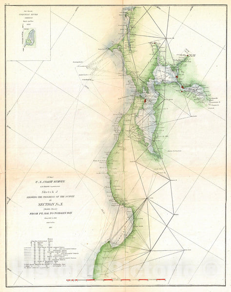 Historic Map : U.S. Coast Survey Triangulation Map of San Francisco Bay, 1865, Vintage Wall Art