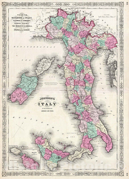 Historic Map : Johnson Map of Italy, Version 2, 1866, Vintage Wall Art