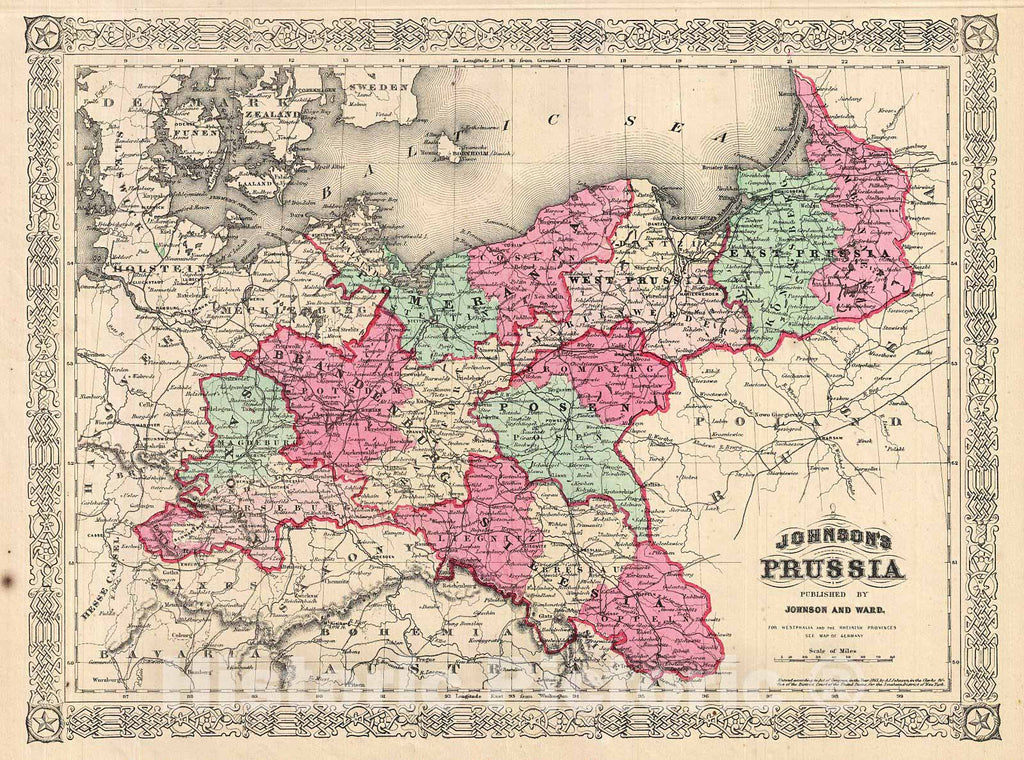 Historic Map : Johnson Map of Prussia, Germany, 1866, Vintage Wall Art