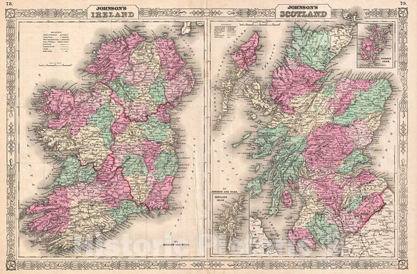 Historic Map : Johnson Map of Scotland and Ireland, Version 2, 1866, Vintage Wall Art