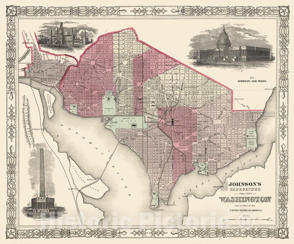 Historic Map : Johnson Map of Washington D.C. , 1866, Vintage Wall Art