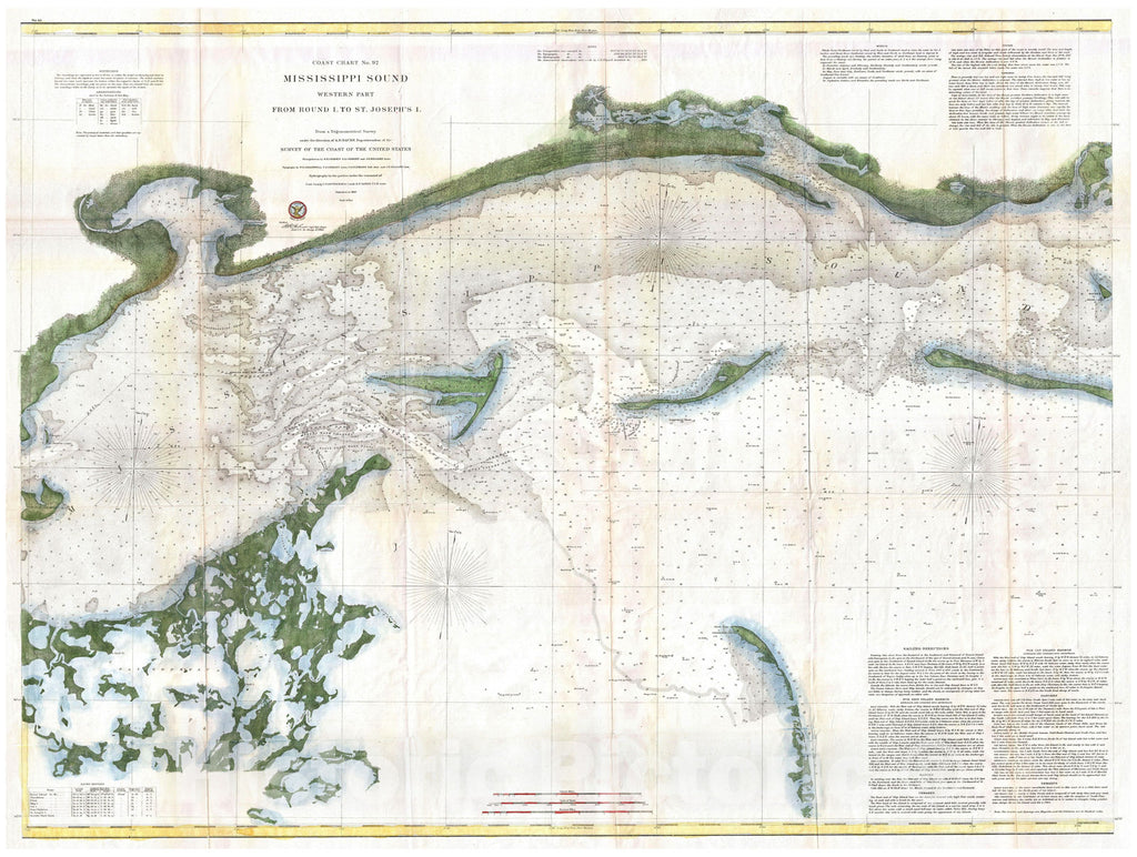 Historic Map : U.S. Coast Survey Chart or Map of The Mississippi Sound, Western Part, 1866, Vintage Wall Art
