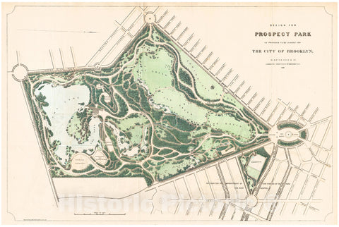 Historic Map : Vaux and Olmsted Map of Prospect Park, Brooklyn, New York, 1868, Vintage Wall Art