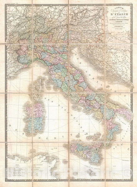 Historic Map : Brue and Levasseur Pocket Map of Italy , 1870, Vintage Wall Art