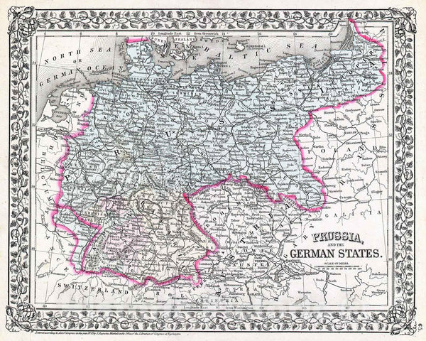 Historic Map : Mitchell Map of Prussia, Germany , 1872, Vintage Wall Art