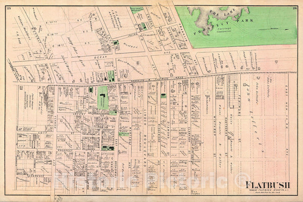 Historic Map : Beers Map of Flabush Area of Brooklyn, New York City, Including Prospect Park, 1873, Vintage Wall Art