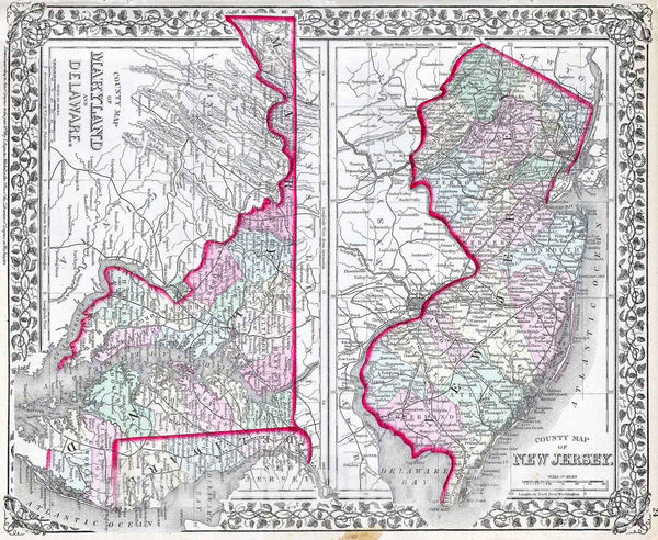 Historic Map : Mitchell Map of Maryland, New Jersey and Delaware , 1874, Vintage Wall Art