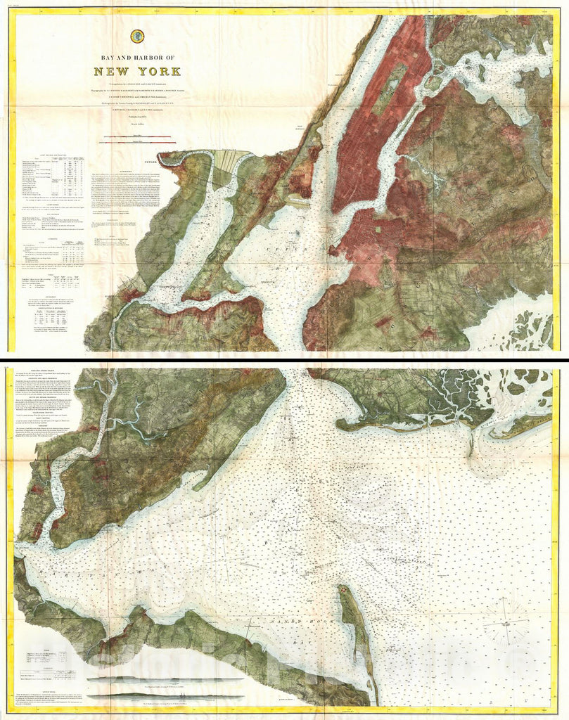 Historic Map : U.S. Coast Survey Map of New York City, Bay and Harbor (2 Part), 1874, Vintage Wall Art