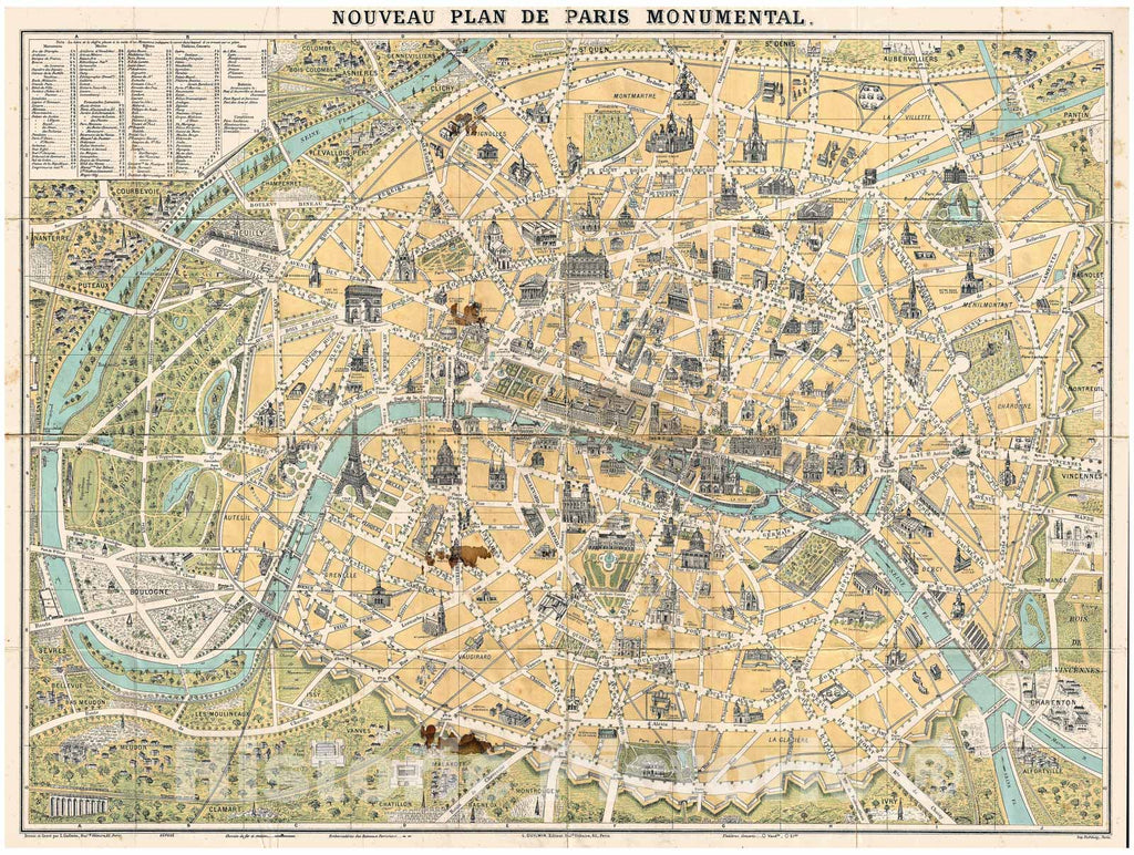 Historic Map : Guilmin map of Paris, France, Monuments, 1890, Vintage Wall Art