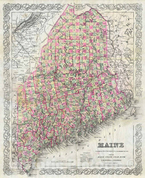 Historic Map : Colton Map of Maine, Version 2, 1894, Vintage Wall Art