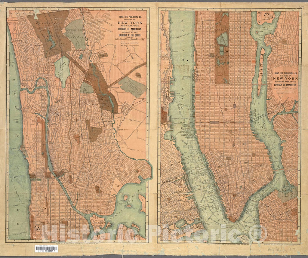 Historic Map : Home Life Map of New York City (Manhattan and The Bronx) , 1899, Vintage Wall Art