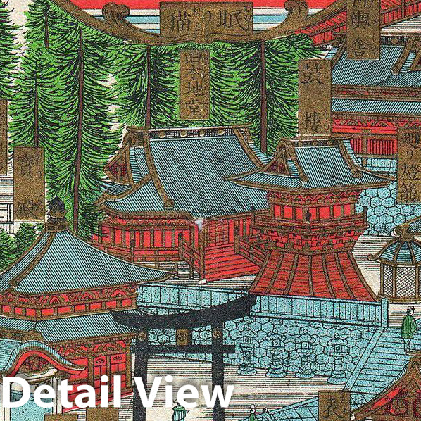 Historic Map : Japanese View and Map of Nikko, Japan, 1901, Vintage Wall Art