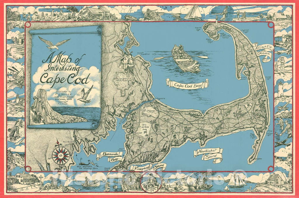 Historic Map : Miller Map of Cape Cod, Massachusetts, 1945, Vintage Wall Art