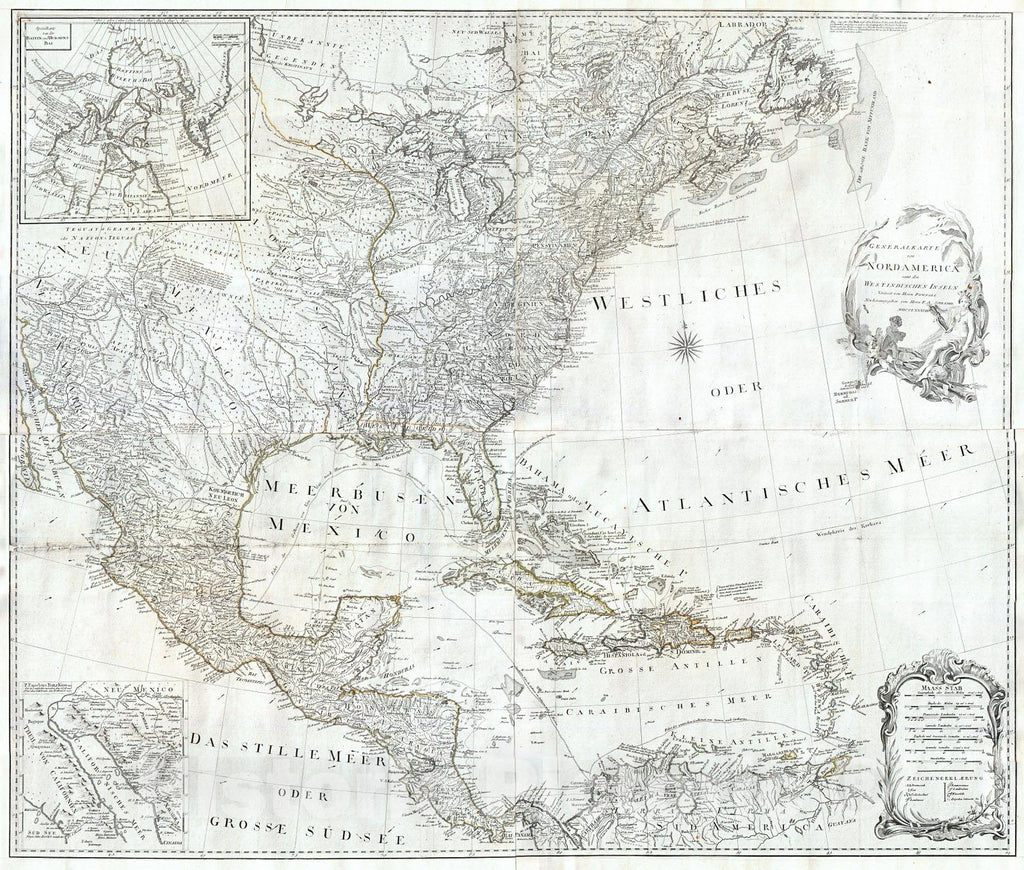 Historic Map : Schraembl, Pownall Map of North America & The West Indies , 1788, Vintage Wall Art