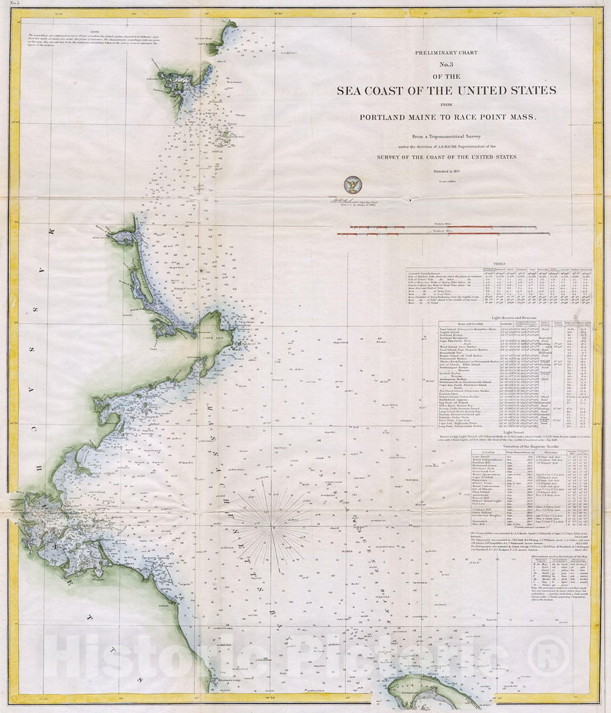 Historic Map : U.S.C.S. Map of Boston's North Shore (Cape Ann, Boston, Portsmouth) , 1857, Vintage Wall Art