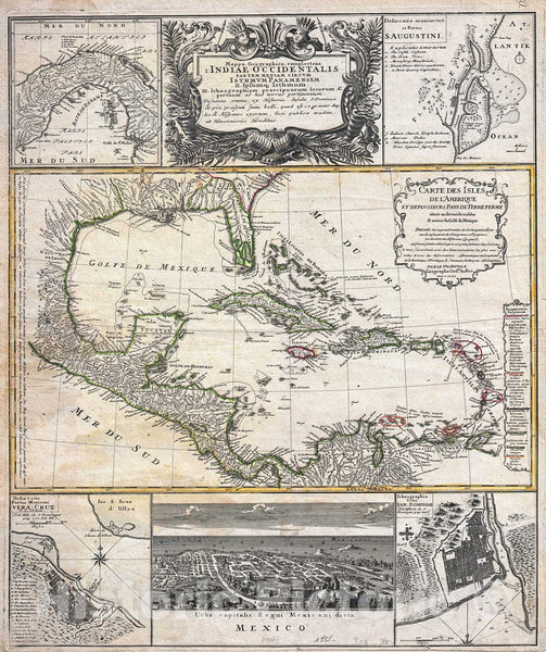 Historic Map : D'Anville Map of Florida and The West Indies by Homann Heirs, 1737, Vintage Wall Art