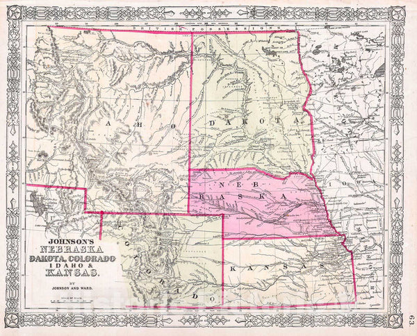 Historic Map : Johnson's Map of Colorado, Dakota, Idaho, Nebraska & Kansas , 1863, Vintage Wall Art