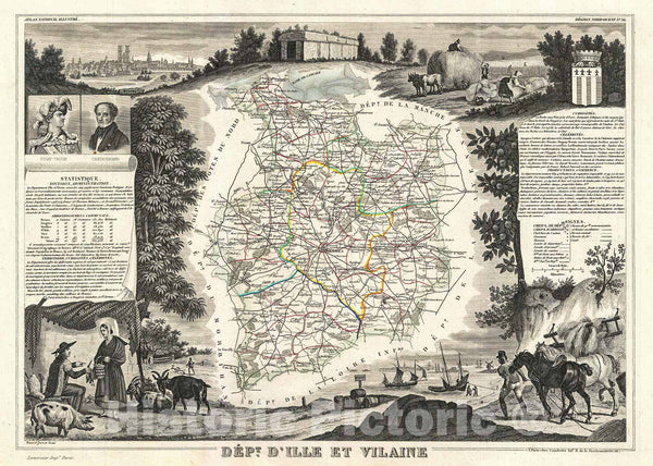 Historic Map : Levasseur Map of The Department D'Ille Et Vilaine, France, 1852, Vintage Wall Art