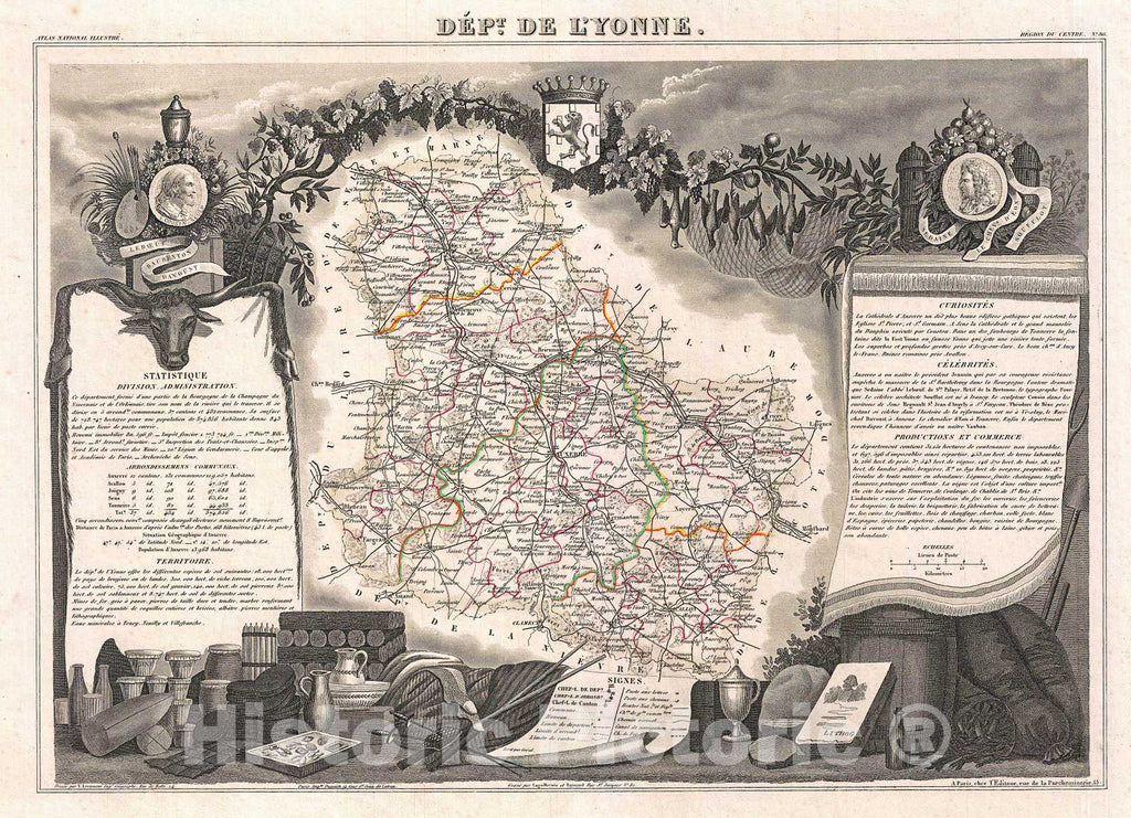 Historic Map : Levasseur Map of The Department De L'Yonne (Burgundy or Bourgogne Wine Region), 1852, Vintage Wall Art