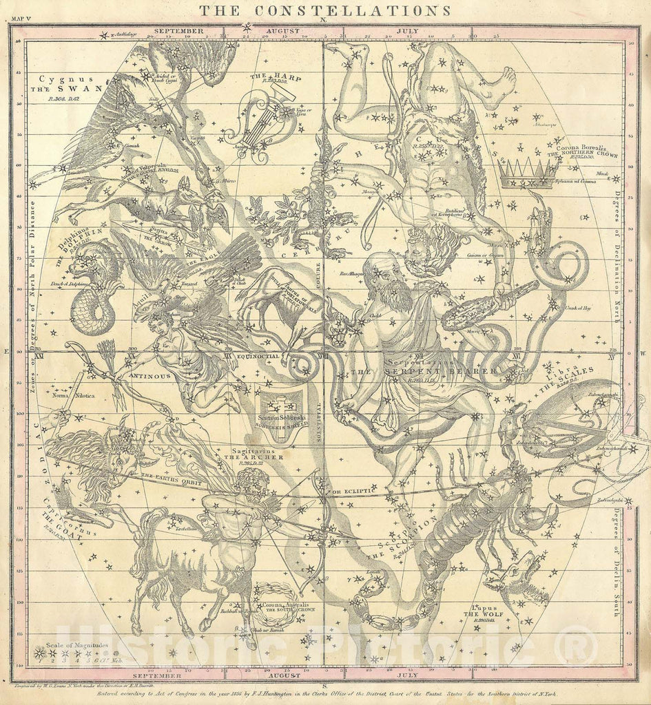 Historic Map : Burritt, Huntington Map of The Constellations or Stars in July, August & September , 1856, Vintage Wall Art