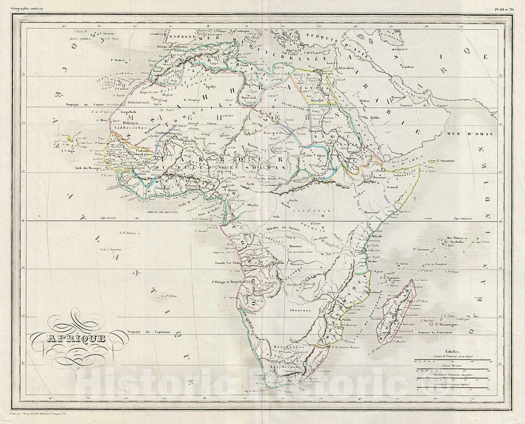Historic Map : MalteBrun Map of Africa, 1843, Vintage Wall Art