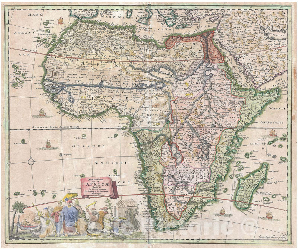 Historic Map : Standrart Antique Map of Africa (First Antique Map Engraved by Homann), 1697, Vintage Wall Art