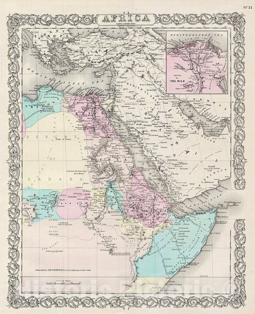 Historic Map : Colton Map of Northeastern Africa, Version 2, 1856, Vintage Wall Art