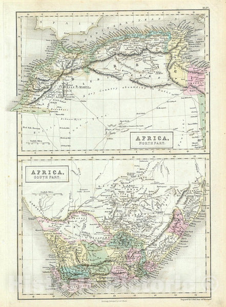 Historic Map : Black Map of North and South Africa, 1851, Vintage Wall Art