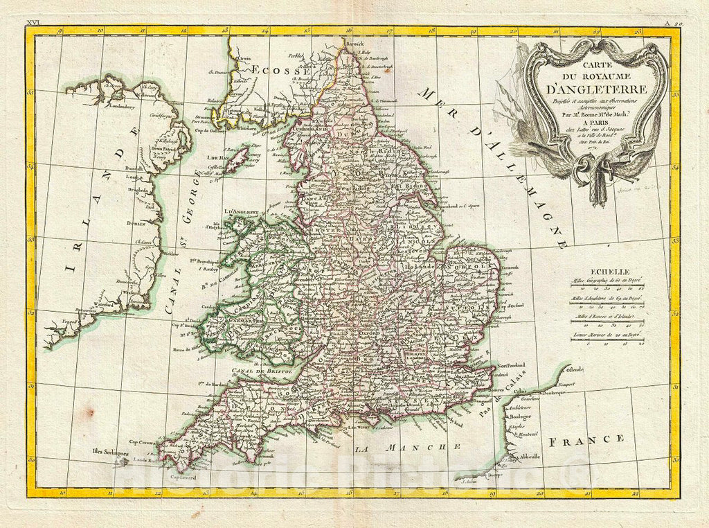 Historic Map : Bonne Map of England and Wales, 1771, Vintage Wall Art