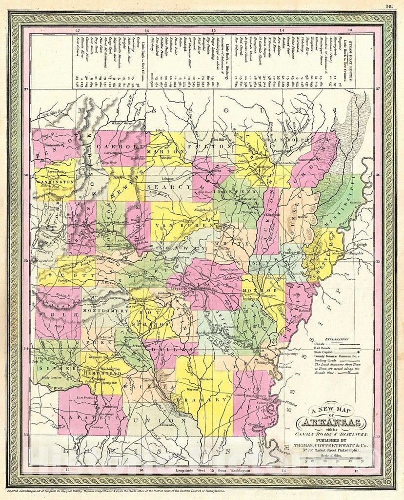 Historic Map : Mitchell Map of Arkansas, Version 3, 1854, Vintage Wall Art