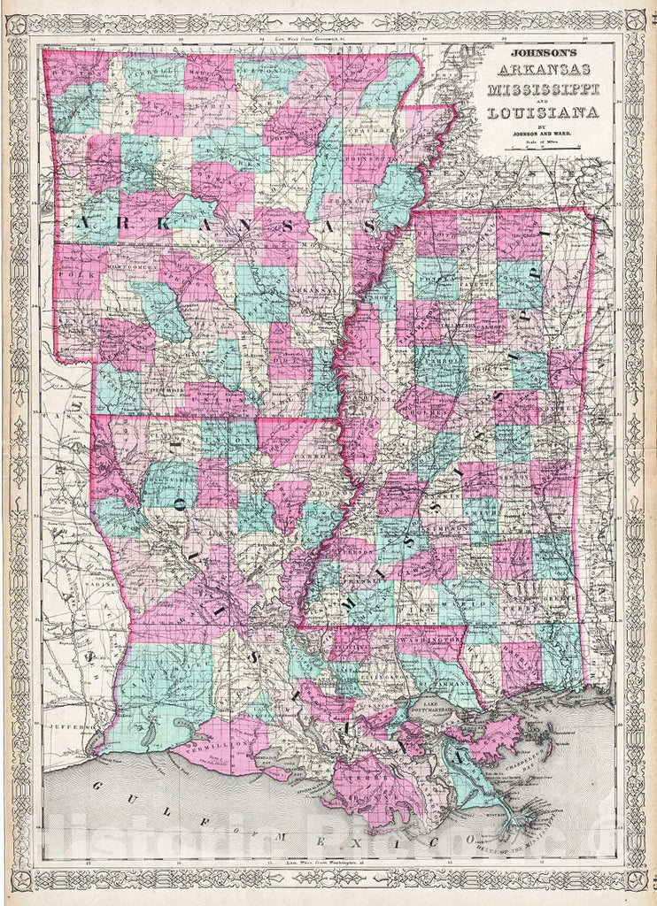 Historic Map : Johnson Map of Arkansas, Mississippi and Louisiana, Version 2, 1865, Vintage Wall Art