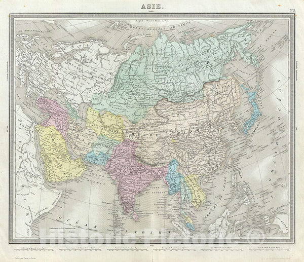 Historic Map : Tardieu Antique Map of Asia, 1874, Vintage Wall Art