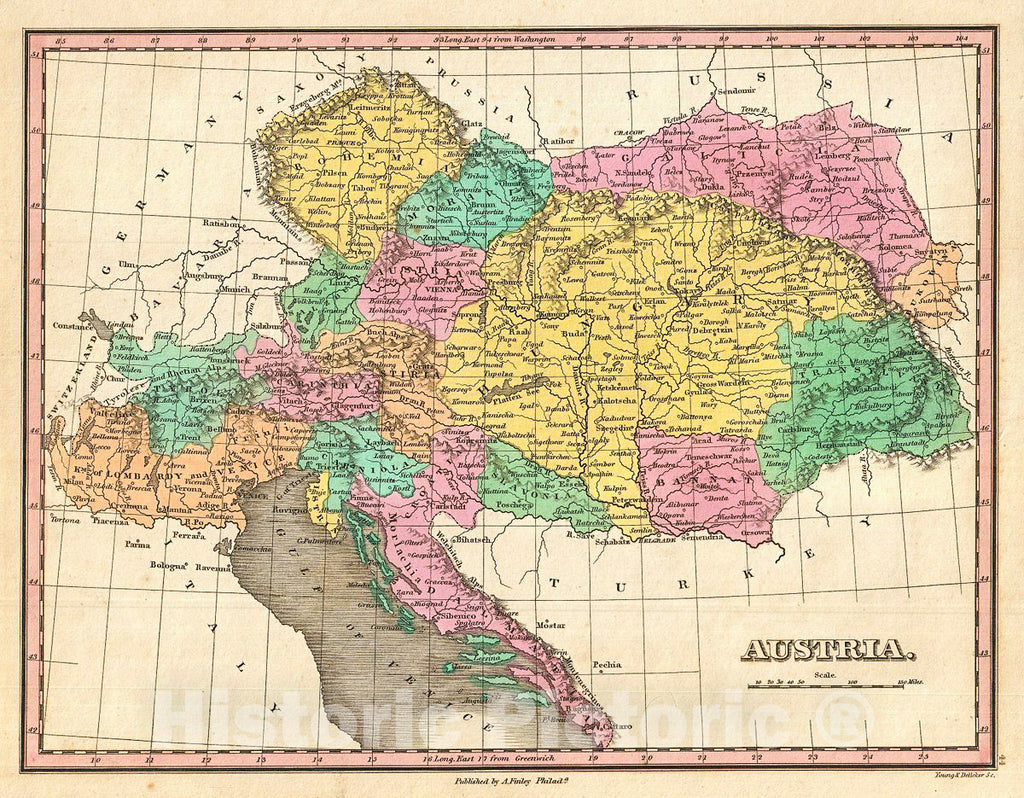 Historic Map : Finley Map of Austria, 1827, Vintage Wall Art