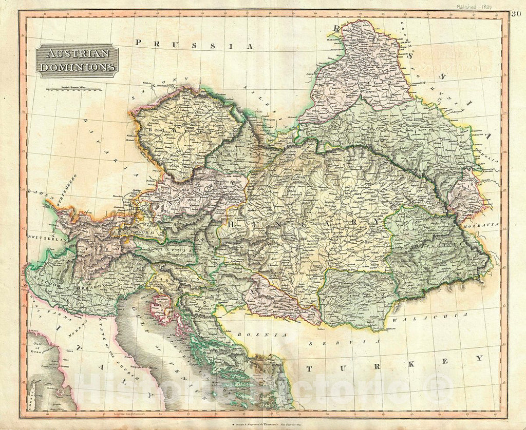 Historic Map : Thomson Map of The Austrian Empire, 1817, Vintage Wall Art
