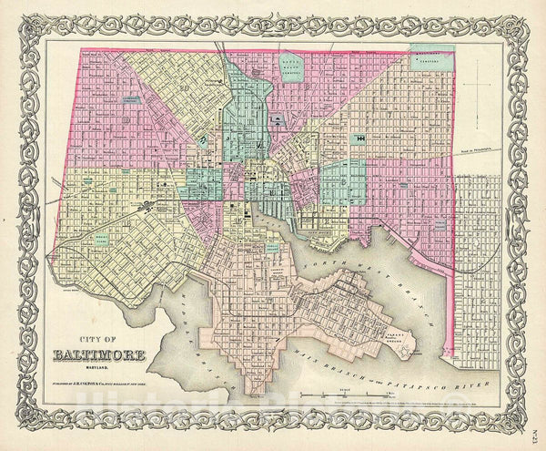 Historic Map : Colton Map of Baltimore, Maryland, 1856, Vintage Wall Art