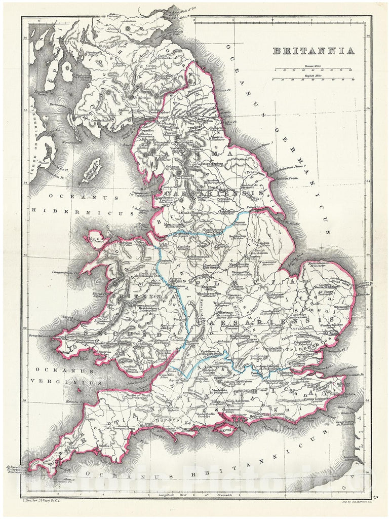 Historic Map : Hughes Map of England in Ancient Roman Times, 1867, Vintage Wall Art