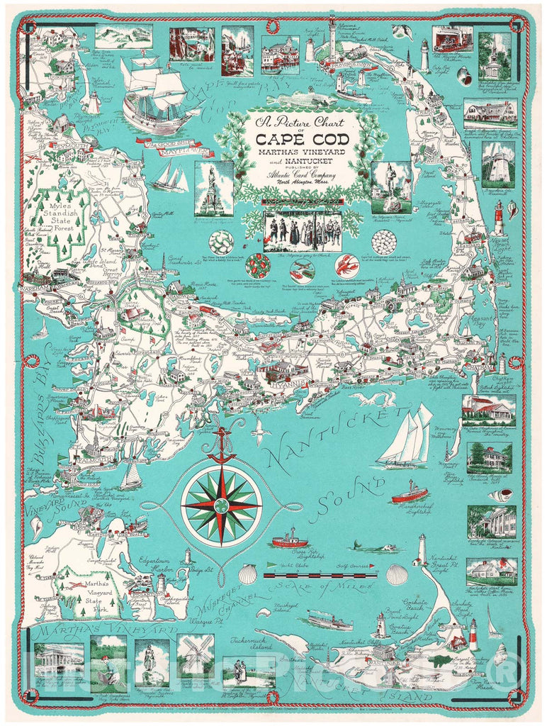 Historic Map : of Cape Cod (with Kennedy Compound) 1960 Ernest Dudley Chase, Map, Vintage Wall Art