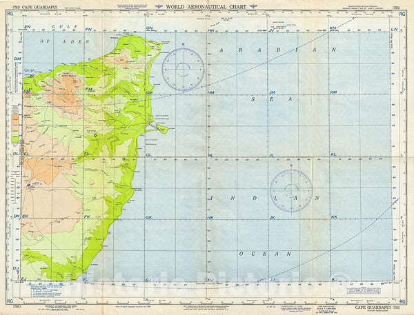 Historic Map : U.S. Army Air Forces Aeronautical Chart or Map of Eastern Somalia (Cape Guardafui), 1952, Vintage Wall Art