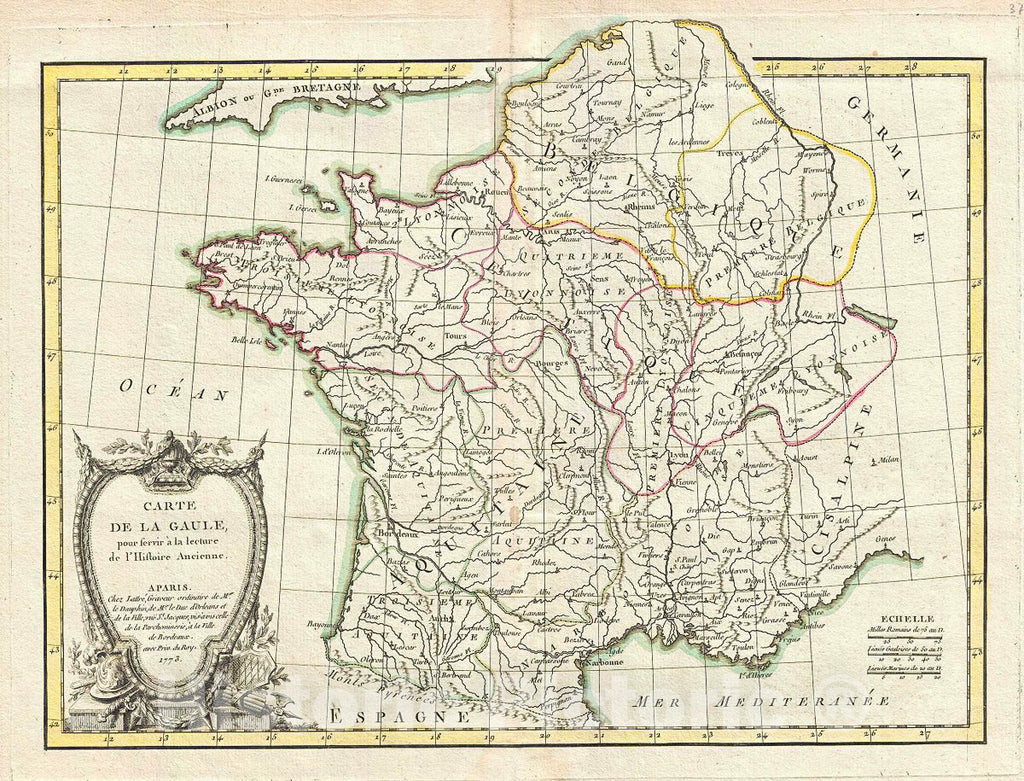Historic Map : Bonne Map of Gaul (Gallia) or France in Ancient Roman Times, 1773, Vintage Wall Art