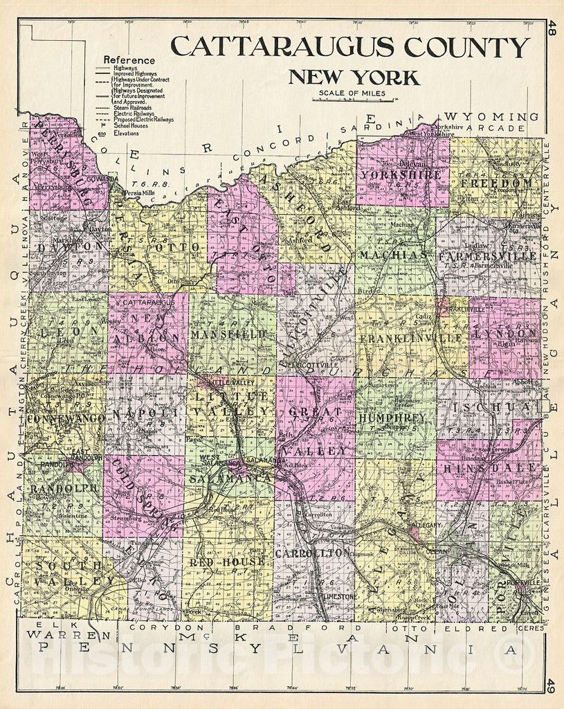 Historic Map : Century Map of Cattaraugus County, New York, 1912, Vintage Wall Art