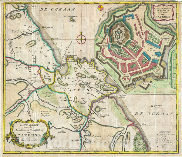 Historic Map : Tirion Antique Map of The Island of Cayenne, French Guyana, 1760, Vintage Wall Art