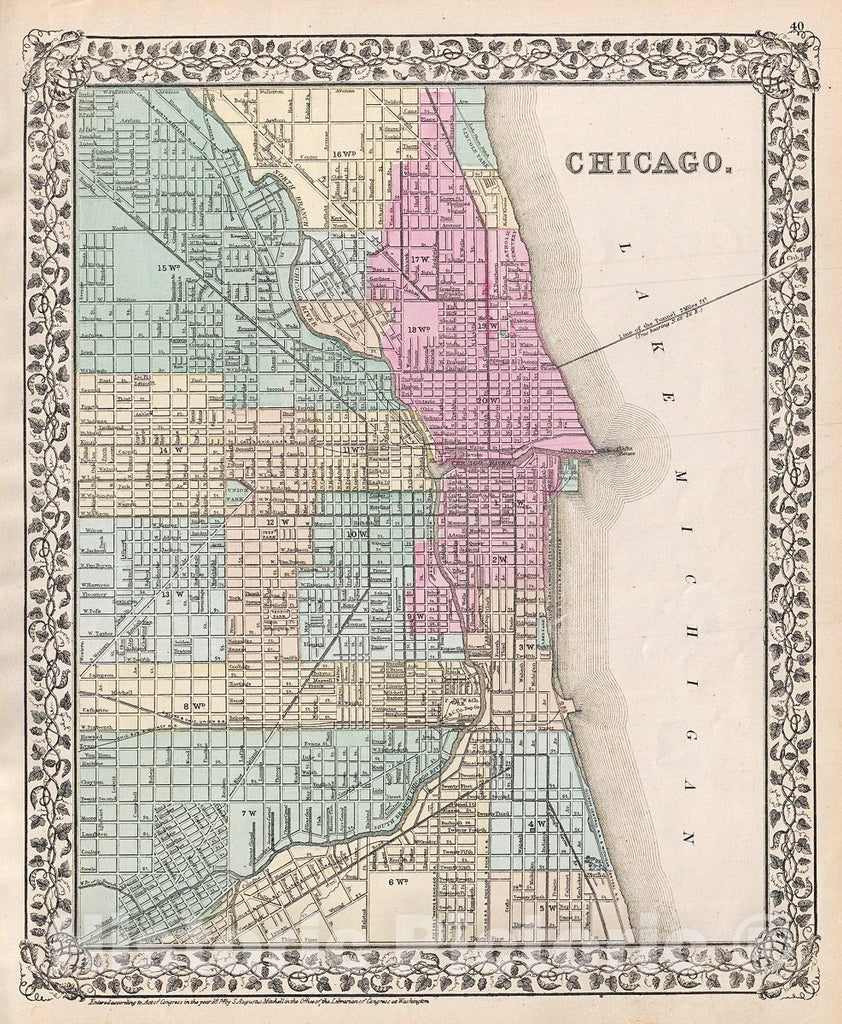 Historic Map : Mitchell Map or Plan of Chicago, Illinois, 1874, Vintage Wall Art