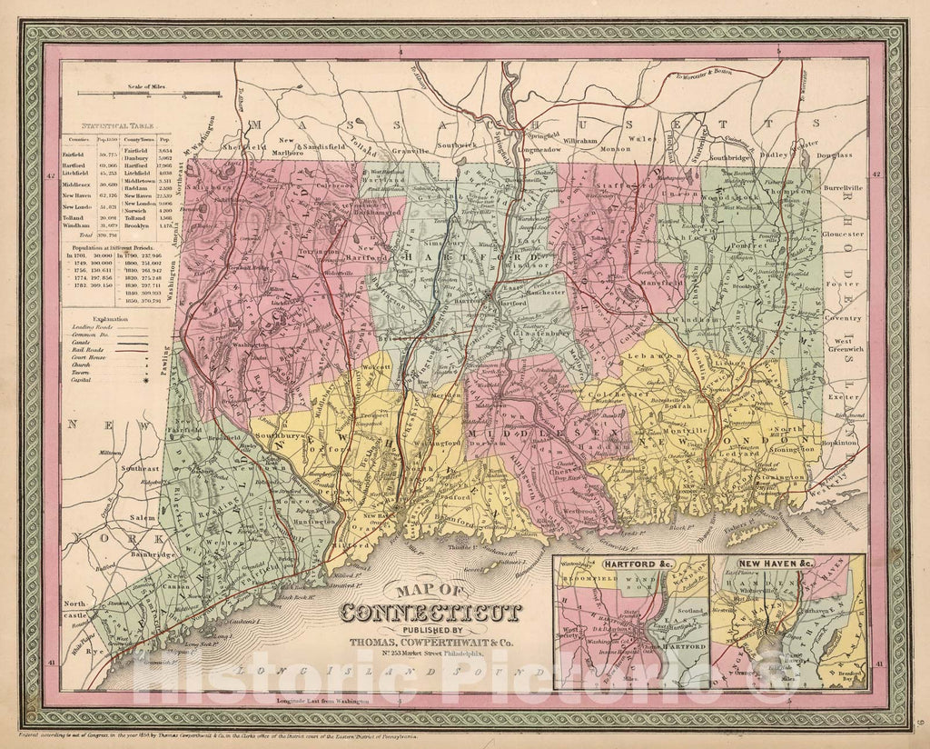 Historic Map : Mitchell Map of Connecticut, 1854, Vintage Wall Art