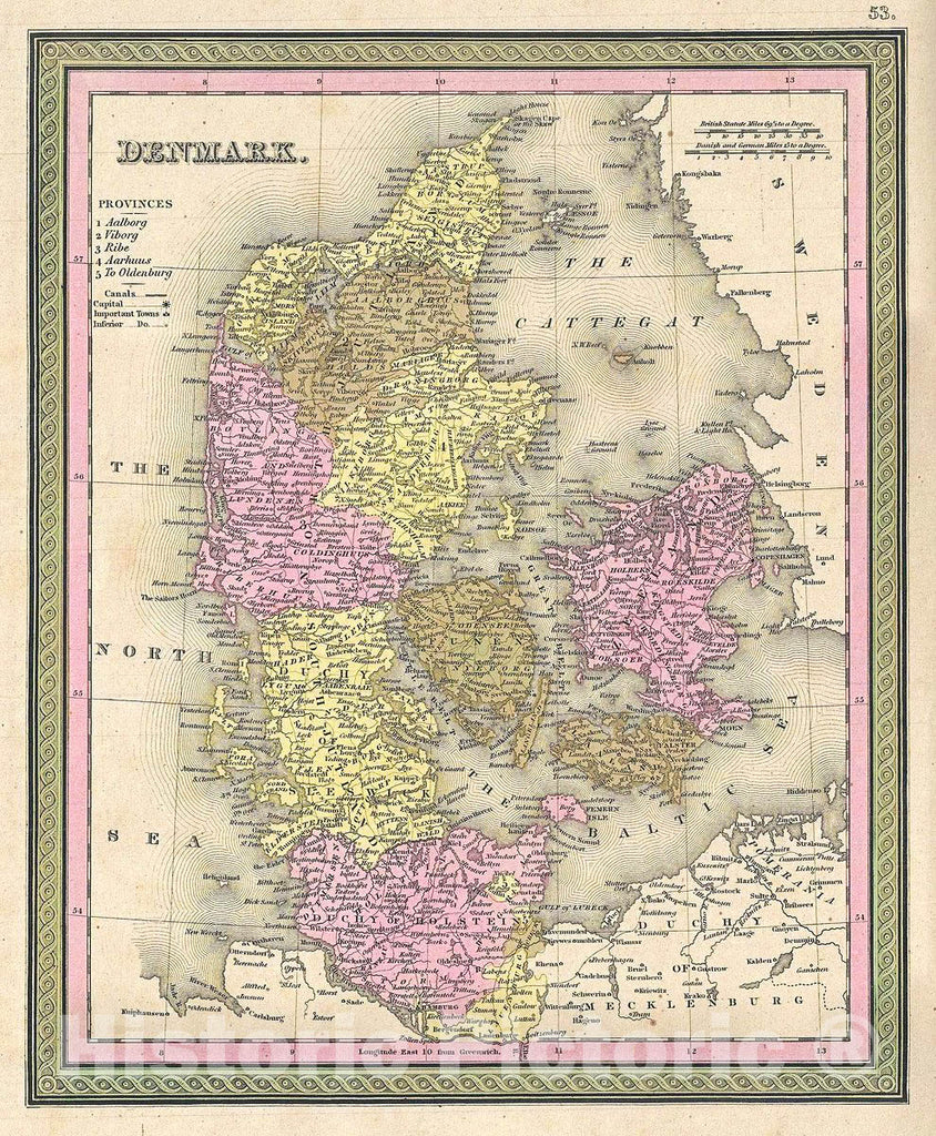 Historic Map : Mitchell Map of Denmark, 1849, Vintage Wall Art