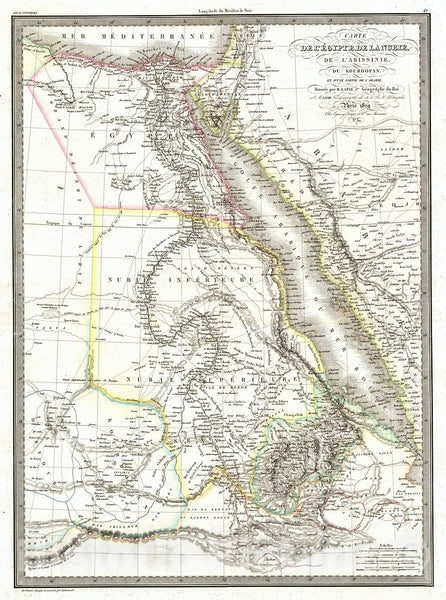 Historic Map : Lapie Map of Egypt from Nubia, Abyssinia, Kordofan, 1829, Vintage Wall Art